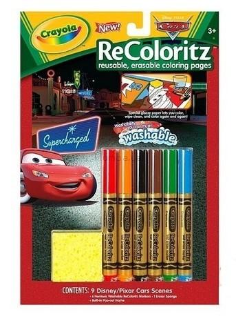 Детская игрушка Crayola Книга-раскраска с фломастерами и ластиком Тачки