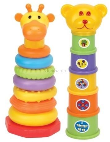Детская игрушка Devik Play Joy Пирамидки Медвежонок и жираф