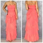 Xs/40-42раз. новое персиковое эксклюзивное дизайнерское шикарное длинное выпускное платье вечернее