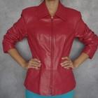M\46 размер женский кожаный стильный пиджак жакет красная осенняя кожаная куртка