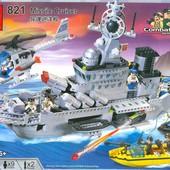 Конструктор детский 821 Военный корабль, Крейсер, Brick Брик