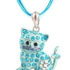 Подвеска с кулоном в виде котика (голубого цвета)
