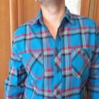 Рубашка светло синяя в клетку из Америки