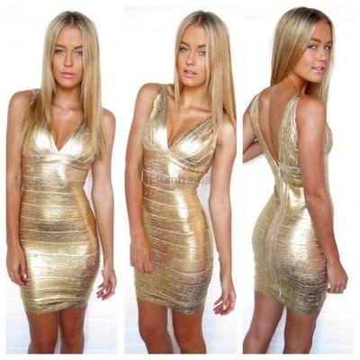 Сексуальное золотое бандажное платье Herve Leger 042 купить вечернее платье