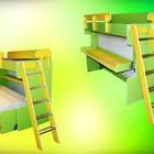 двухярусная кровать-стол трансформер