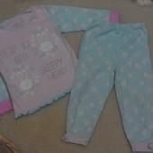 Нежная пижамка с зайками Matalan на девочку 3-4 года
