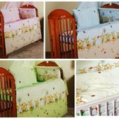 бампер бортик бортики защита для детской кроватки защитное ограждение в детскую кроватку 2части-Пчел