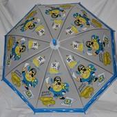 Зонтик зонт для девочки с яркими пиратами матовый полу прозрачный грибком