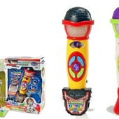 Детский Микрофон  K999-118B-3399 Трансформация голоса, 22 см, муз, звук, свет, 2вида