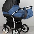 Универсальная коляска Aneco Venezia цвет 2 (серый-синий) в точку, белая рама