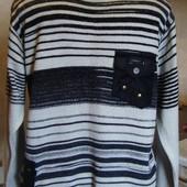 кофта свитер мужской серо-черный Kanaan Размер S/M
