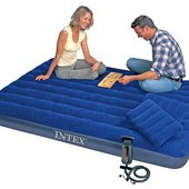 Надувной матрас Intex 203х152х22см:насос,2 подушки