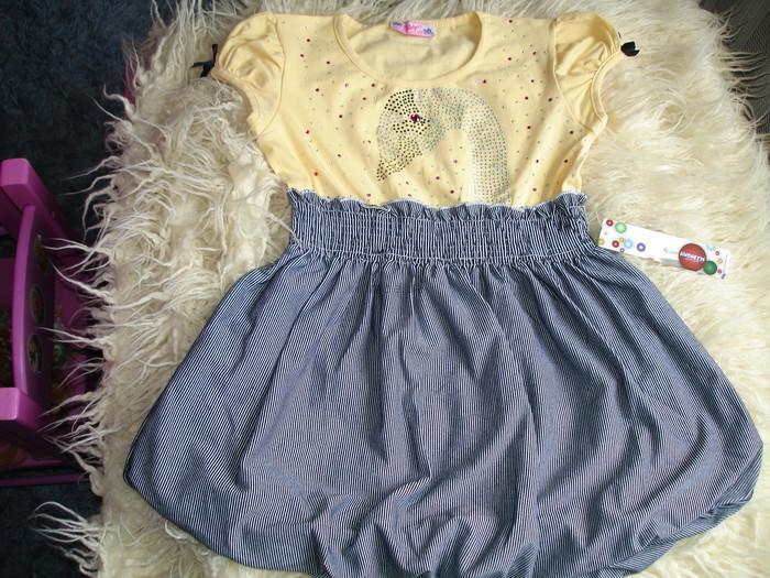 Платье трикотажное летнее для девочки новое со стразами, р. 30-32 фото №1