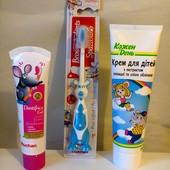 Набор: зубная щетка + зубная паста + детский крем, много вариантов