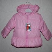 Демисезонная куртка детская розовая. Размер:9-12; 12-18; 18-24м