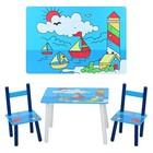 Деревянный прямоугольный детский столик со стульчиками «Кораблики» E 03-2100