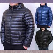 Мужская зимняя куртка на силиконе с отстегным капюшоном. 3 цвета.