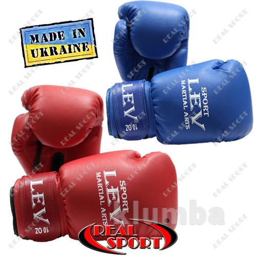Боксерские перчатки (кожзам) 8oz, 10 oz, 12 oz красные, синие фото №1