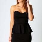 Платье-бюстье черное, трикотажное, с баской, Boohoo, S размер