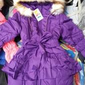 Тёплая куртка - пальто для девочек.размеры 98,104,116,122