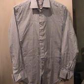 торг - рубашка голубая в полоску 48-50 как новая хлопок