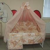Bonna 9 в 1 Детское постельное белье в кроватку персиковое Мишки спят