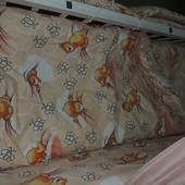 Bonna 9 в 1 Детское постельное белье в кроватку персиковое Мишки соты