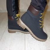 Ботинки черные с коричневым Д439 р.36,37,39,40