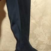 Фирменные замшевые сапоги- чулки, сапоги - ботфорты на низком ходу 37 р. 24 см, River Island