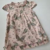 симпатичное платье в бабочки на 1-2 годика