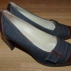 Модные джинсово-кожаные стильные туфельки в отличном состоянии, р.36,5
