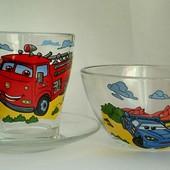 Детские стеклянные наборы посуды Машинки