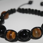 Мужской браслет оберег в стиле шамбала из натурального камня тигровый глаз и агат