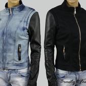 Женская демисезонная джинсовая куртка с рукавами из эко-кожи