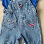 Комплект: комбинезон джинсовый и футболка