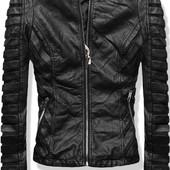 Женская кожаная весенняя куртка с ажурными вставками
