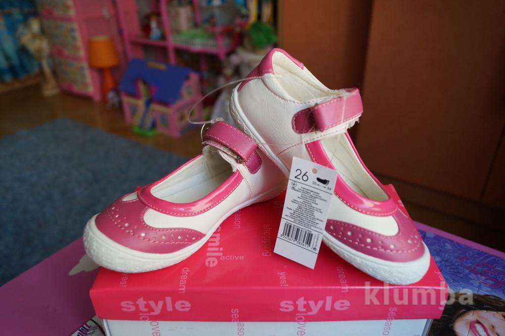 Туфли нарядные летние для девочки бело-розовые новые размер 25-32 фото №1