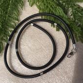 Шнурок серебряный каучук 4012 со вставками