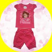 Комплект, костюм футболка и шорты на 3-7 лет. Принцесса София