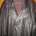 Пальто кожаное,утеплённое,р.54-56,коричневое.