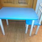 Детский столик голубого цвета с одним стульчиком