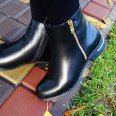 Ботинки женские деми черные Замочек. Польша