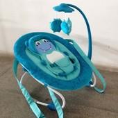 Детский шезлонг-качалка 0002 (голубой)