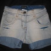 крутые джинсовые шорты на 7-9 лет, девочке, стрейч