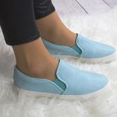 Ультрамодние женские  голубые слипоны