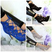 женские ажурные сандалии гладиаторы на каблуке