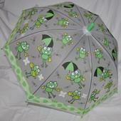 Зонтик зонт с яркими Лягушатами матовый полу прозрачный грибком