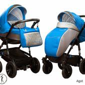 New! Универсальная коляска 2 в 1 Ajax Group Viola Agat, серый с ярко-голубым
