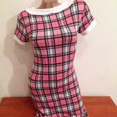 Стильное и модное платье в клетку с воротничком Питер Пен, 44 размер