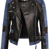 Куртка из эко-кожи с вставками джинса